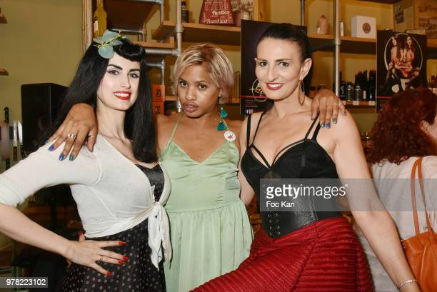 Model Elsa Oesinger blogger Kevhoney Scarlett and model/writer Sylvie Ortega Munos attend the Filles A Cotelettes Party Hosted by Grand Seigneur...