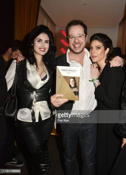 Model Elsa Oesinger writer/TV presenter Mathieu Alterman and Celine Mori attend 'Femmes Fatales ' Mathieu Alterman Book Launch Party at Masha Club on...