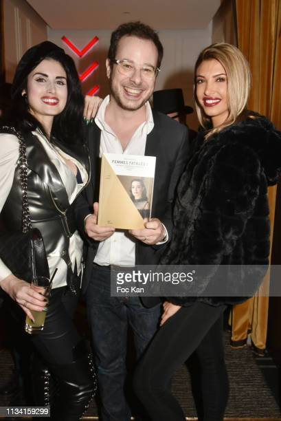 Model Elsa Oesinger writer/TV presenter Mathieu Alterman and Melanie Dedigama from Secret Story attend 'Femmes Fatales ' Mathieu Alterman Book Launch...
