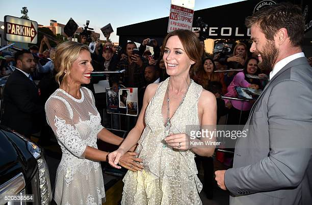 Model Elsa Pataky actress Emily Blunt and Actor Chris Hemsworth attend the premiere of Universal Pictures' 'The Huntsman Winter's War' at the Regency...