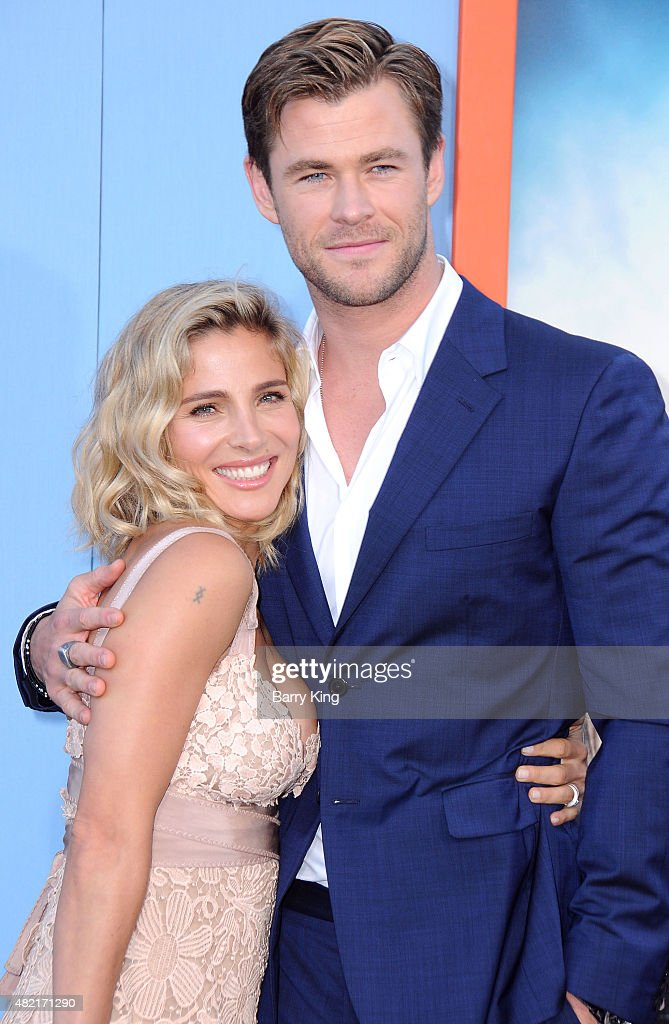 Model Elsa Pataky and actor Chris Hemsworth arrive at the Premiere Of Warner Bros. 'Vacation' at Regency Village Theatre on July 27, 2015 in Westwood, California.