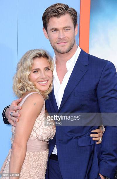 Model Elsa Pataky and actor Chris Hemsworth arrive at the Premiere Of Warner Bros 'Vacation' at Regency Village Theatre on July 27 2015 in Westwood...