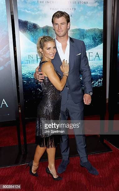 Model Elsa Pataky and actor Chris Hemsworth attend the 'In The Heart Of The Sea' New York premiere at Frederick P Rose Hall Jazz at Lincoln Center on...