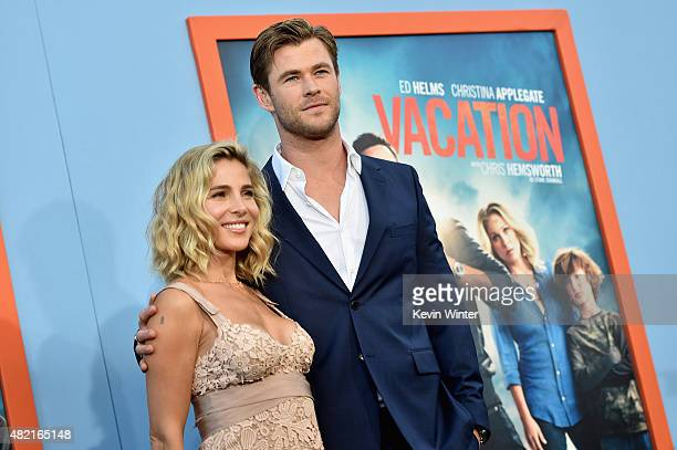 Model Elsa Pataky and actor Chris Hemsworth attend the premiere of Warner Bros Pictures Vacation at Regency Village Theatre on July 27 2015 in...