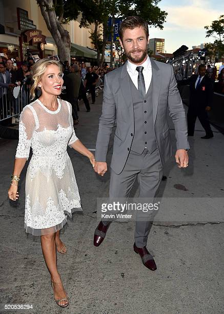 Model Elsa Pataky and Actor Chris Hemsworth attends the premiere of Universal Pictures' 'The Huntsman Winter's War' at the Regency Village Theatre on...