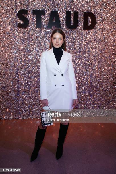 Model Emily DiDonato attends the Staud front row during New York Fashion Week The Shows at Gallery II at Spring Studios on February 13 2019 in New...