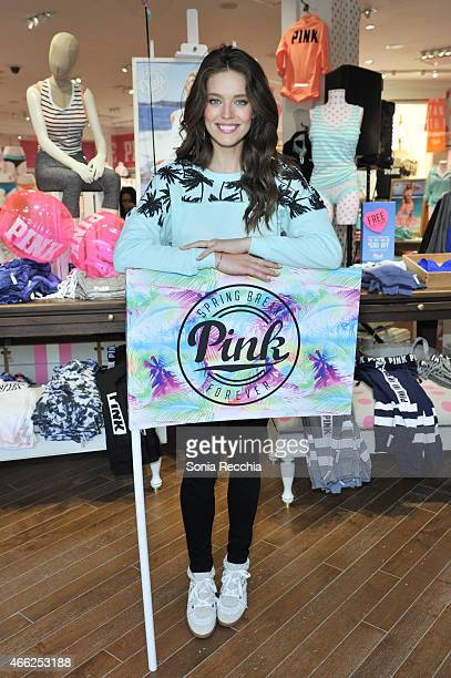 Model Emily DiDonato Launches Victoria's Secret PINK Limited Release Varsity Crew at The PINK Nation Spring Break Bash on March 14 2015 in Buffalo...