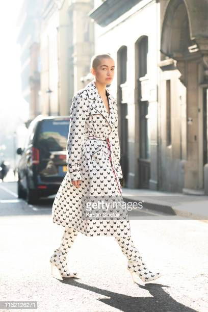 Model Emily J O'Donnell wears all Agne Kuzmickaite during London Fashion Week February 2019 on February 15 2019 in London England