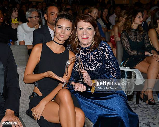 Model Emily Ratajkowski and Editor in Chief of Harper's Bazaar Glenda Bailey attends the The Daily Front Row's 4th Annual Fashion Media Awards at...