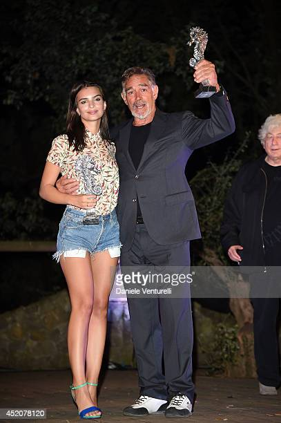 Model Emily Ratajkowski and Fabio Testi attend the Day 1 of Ischia Global Film & Music Fest 2014 on July 12, 2014 in Ischia, Italy.