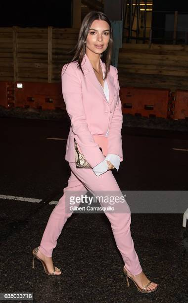Model Emily Ratajkowski arrives at the Altuzarra fashion show during February 2017 New York Fashion Week on February 12 2017 in New York City