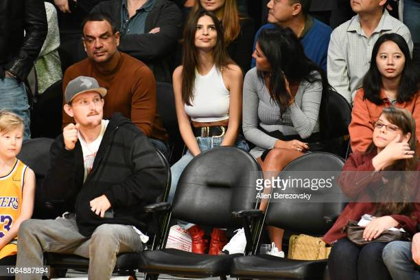 Model Emily Ratajkowski attends a basketball game between the Los Angeles Lakers and and the Minnesota Timberwolves at Staples Center on November 07...