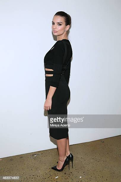 Model Emily Ratajkowski attends Cushnie Et Ochs runway show during MADE Fashion Week Fall 2015 at Milk Studios on February 13 2015 in New York City