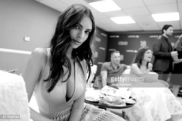 Model Emily Ratajkowski attends the 18th Costume Designers Guild Awards at The Beverly Hilton Hotel on February 23 2016 in Beverly Hills California