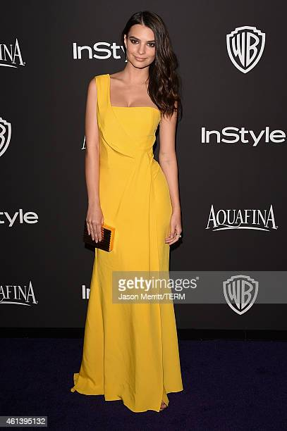 Model Emily Ratajkowski attends the 2015 InStyle And Warner Bros 72nd Annual Golden Globe Awards PostParty at The Beverly Hilton Hotel on January 11...