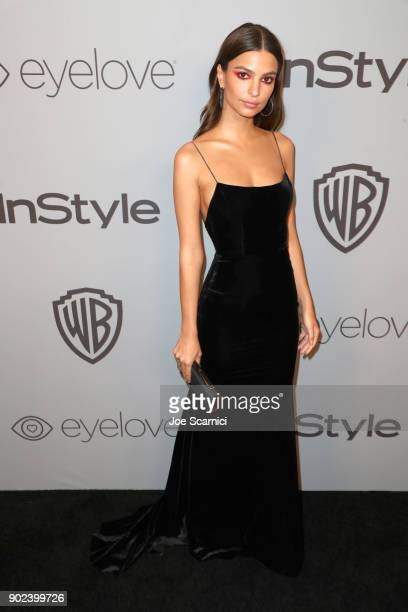 Model Emily Ratajkowski attends the 2018 InStyle and Warner Bros 75th Annual Golden Globe Awards PostParty at The Beverly Hilton Hotel on January 7...