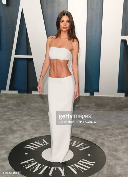 US model Emily Ratajkowski attends the 2020 Vanity Fair Oscar Party following the 92nd Oscars at The Wallis Annenberg Center for the Performing Arts...