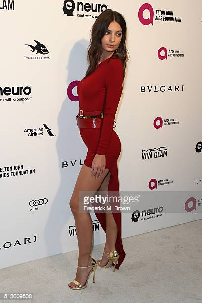 Model Emily Ratajkowski attends the 24th Annual Elton John AIDS Foundation's Oscar Viewing Party on February 28 2016 in West Hollywood California
