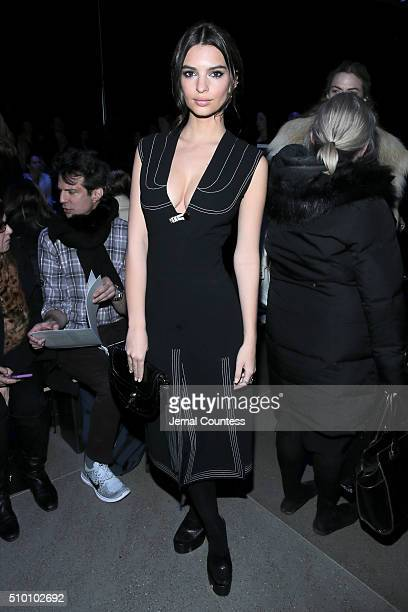 Model Emily Ratajkowski attends the Altuzarra Fall 2016 fashion show during New York Fashion Week at Spring Studios on February 13 2016 in New York...