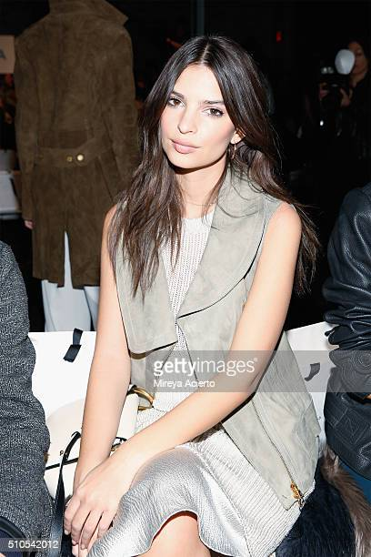 Model Emily Ratajkowski attends the Maiyet fashion show during Fall 2016 New York Fashion Week at Cedar Lake on February 15 2016 in New York City