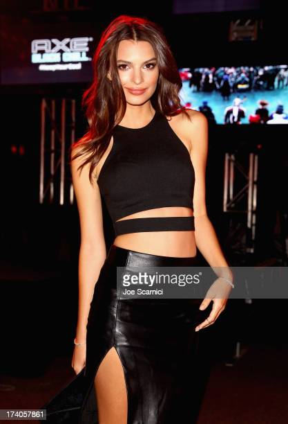 Model Emily Ratajkowski attends the Playboy and Universal Pictures' 'KickAss 2' event at ComicCon sponsored by AXE Black Chill on July 19 2013 in San...