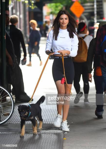 Model Emily Ratajkowski is seen walking her dog in soho on June 12, 2019 in New York City.