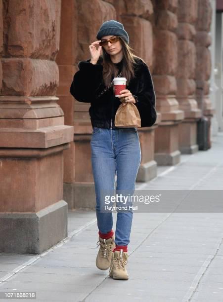 Model Emily Ratajkowski is seen walking in SoHo on December 11 2018 in New York City