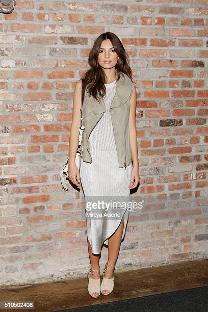 Model Emily Ratajkowski poses backstage of the Maiyet fashion show during Fall 2016 New York Fashion Week the at Cedar Lake on February 15 2016 in...