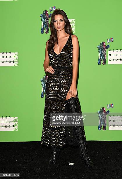 Model Emily Ratajkowski poses in the press room at the 2015 MTV Video Music Awards at Microsoft Theater on August 30 2015 in Los Angeles California