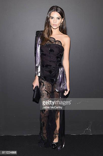 Model Emily Ratajkowskiattends the Marc Jacobs Fall 2016 fashion show during New York Fashion Week at Park Avenue Armory on February 18 2016 in New...