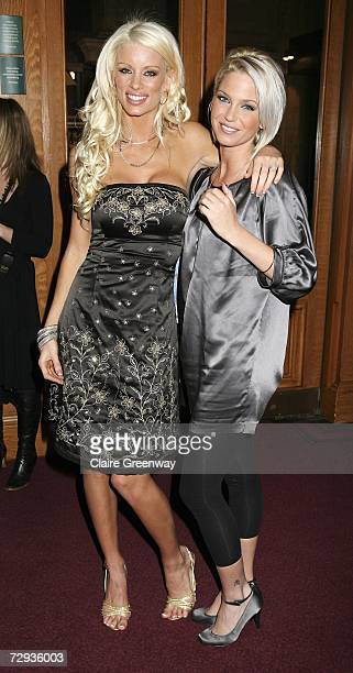 Model Emma B and Girls Aloud singer Sarah Harding arrive at the VIP performance of Cirque Du Soleil's 'Alegria' at Royal Albert Hall on January 5...