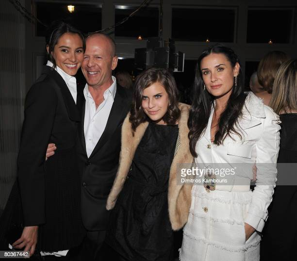 Model Emma Hemming actor Bruce Willis Tallulah Belle Willis and actress Demi Moore attend the after party for The Screening of Flawless hosted by The...