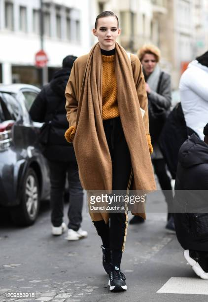 Model Emma Muszela is seen outside the Altuzarra show during Paris Fashion Week: AW20 on February 29, 2020 in Paris, France.