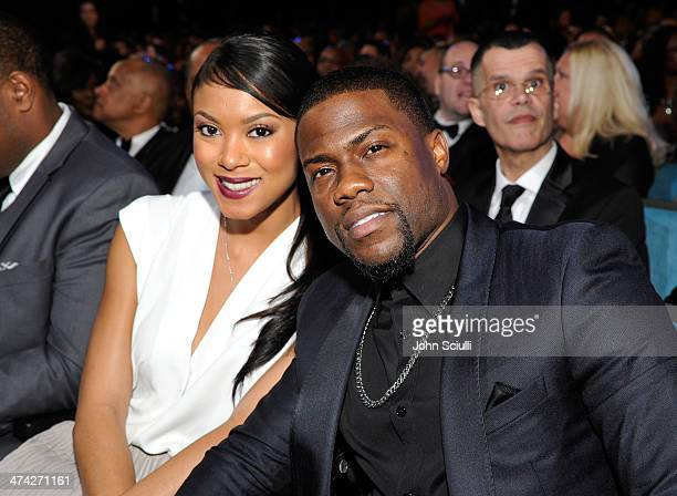 Model Eniko Parrish and actor/comedian Kevin Hart attend the 45th NAACP Image Awards presented by TV One at Pasadena Civic Auditorium on February 22...
