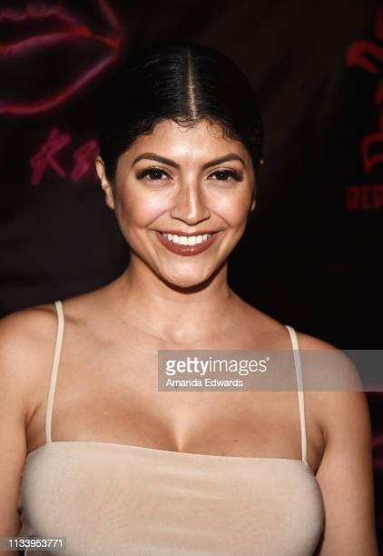 Model Erika Medina arrives at the Los Angeles premiere of 'KISS KISS' at the Ahrya Fine Arts Theater by Laemmle on March 05 2019 in Beverly Hills...