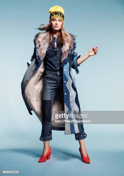 Model Erika Palkovicova poses at a fashion shoot for Madame Figaro on July 21 2017 in Paris France Coat jacket shirt jeans hat PUBLISHED IMAGE CREDIT...