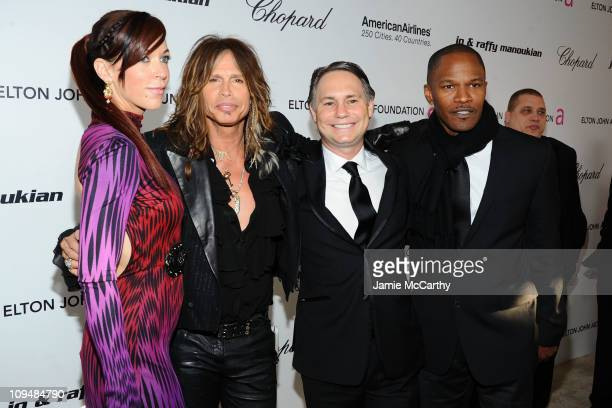 Model Erin Brady singer Steven Tyler Niche Media Chairman Jason Binn and actor Jamie Foxx attend the 19th Annual Elton John AIDS Foundation Academy...