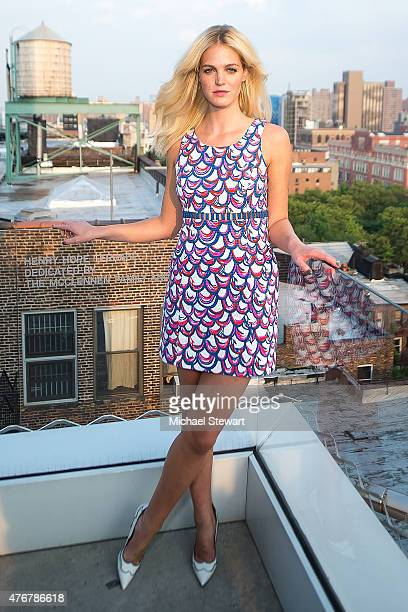 Model Erin Heatherton attends the Lilly Pulitzer Resort 2016 Collection Presentation at the Sky Room at the New Museum on June 11 2015 in New York...