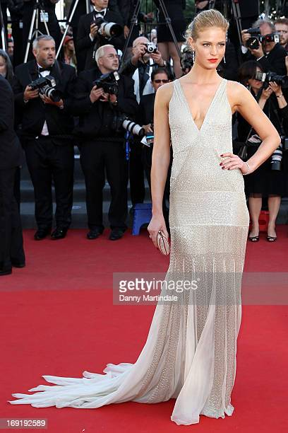 Model Erin Heatherton attends the Premiere of 'Behind the Candelabra' during the 66th Annual Cannes Film Festival at Palais des Festivals on May 21...