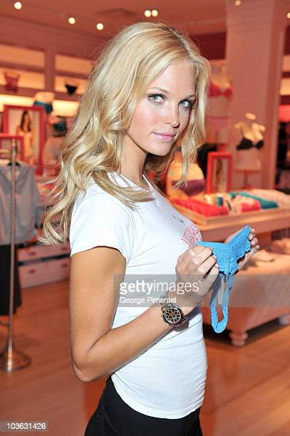 Model Erin Heatherton attends the Victoria's Secret Launch In Toronto at Yorkdale Shopping Centre on August 25 2010 in Toronto Canada