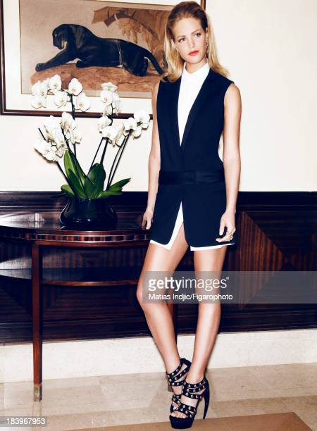 106860015 Model Erin Heatherton is photographed for Madame Figaro on May 29 2013 in Cannes France Dress earrings and ring shoes PUBLISHED IMAGE...
