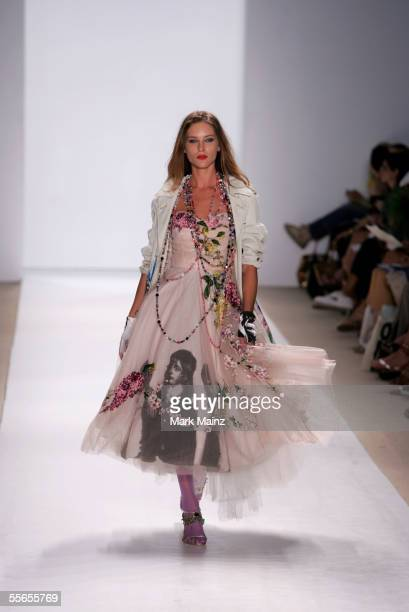 Model Erin Masson walks the runway at the Libertine Spring 2006 fashion show during Olympus Fashion Week at Bryant Park September 16 2005 in New York...