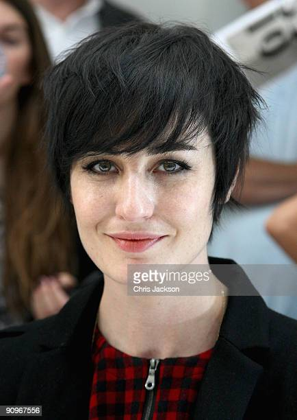 Model Erin O'Conner smiles during the Margaret Howell Fashion London Fashion Week Spring/ Summer 2010 show at the Margaret Howell Store on September...