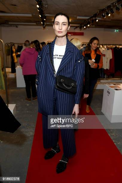 Model Erin O'Connor attends the LFW Press Conference during London Fashion Week February 2018 on February 16 2018 in London England