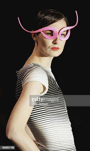 Model Erin O'Connor models in the Philip Treacy for Umbro fashion show as part of London Fashion Week Autumn/Winter 2006/7 at the Royal Horticultural...