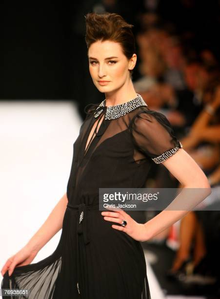 Model Erin O'Connor poses on the catwalk as part of the Fashion For Relief Show during London Fashion Week 2007 at the BFC Catwalk Tent Natural...