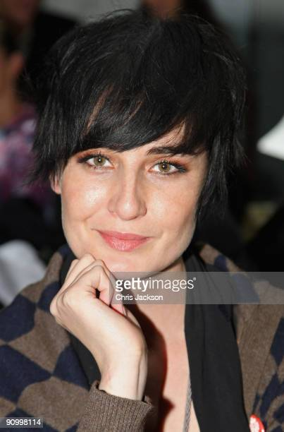 Model Erin O'Connor sits on the front row at the Marios Schwab Spring/Summer 2010 show at the Topshop Show Space during London Fashion Week on...
