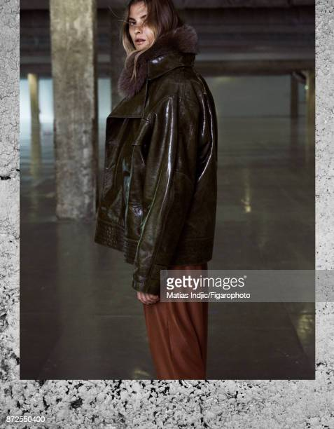 Model poses at a fashion shoot for Madame Figaro on September 19 2017 in Paris France Outer jacket inner jacket pants MANDATORY CAPTION Photo...