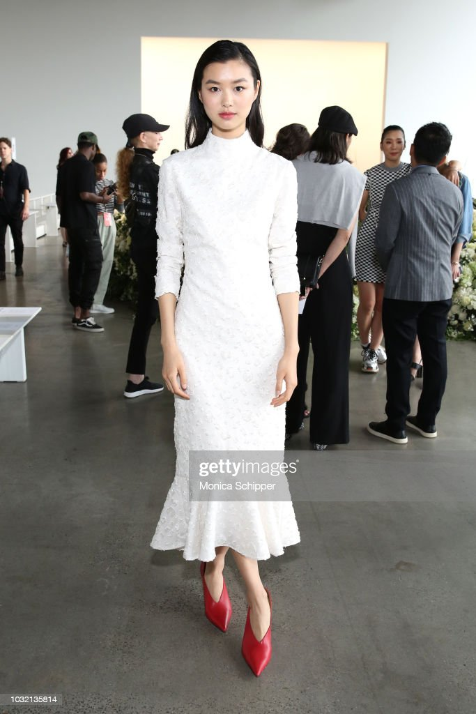 Model Estelle Chen attends the Calvin Luo front Row during New York Fashion Week: The Shows at Gallery I at Spring Studios on September 12, 2018 in New York City.