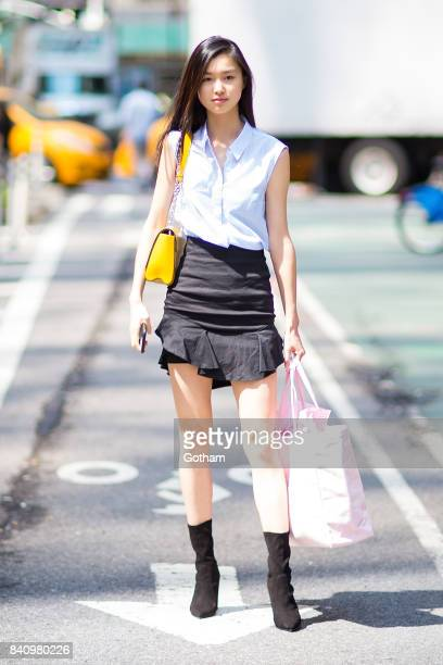 Model Estelle Chen is seen going to fittings for the 2017 Victoria's Secret Fashion Show in Midtown on August 30 2017 in New York City